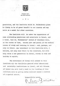 David Ben-Gurion letter to Feldenkrais - pg 2
