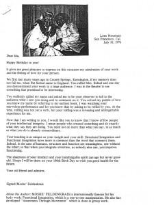 Moshe Feldenkrais letter to Ida Rolf